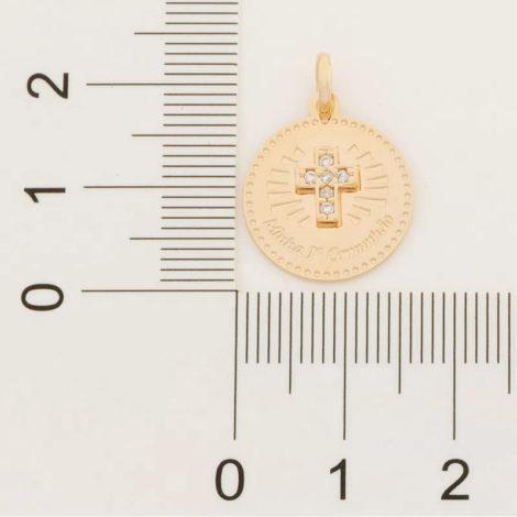 542256 pingente medalha minha primeira comunhao cruz cravejada com zirconia colecao cores da vida rommanel loja brilho folheados 2 1