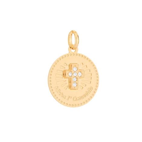 542256 pingente medalha minha primeira comunhao cruz cravejada com zirconia colecao cores da vida rommanel loja brilho folheados