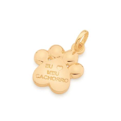 542265 pingente patinha de cachorro frase eu amo meu cachorro metal dourado colecao cores da vida rommanel loja brilho folheados 4