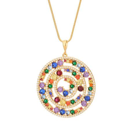 542268 pingente mandala roda da vida com zirconias coloridas colecao cores da vida marca rommanel loja revendedora brilho folheados 1