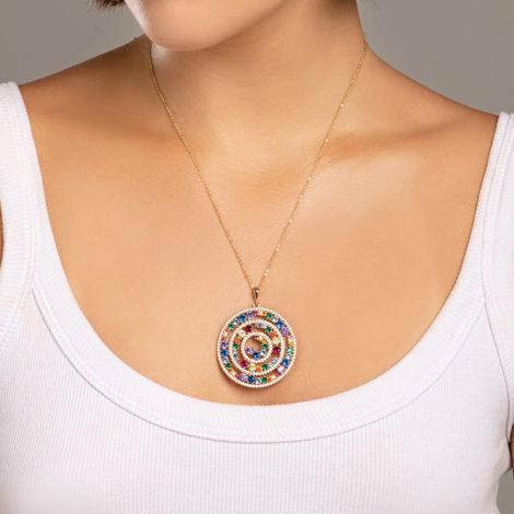 542268 pingente mandala roda da vida com zirconias coloridas colecao cores da vida marca rommanel loja revendedora brilho folheados foto modelo
