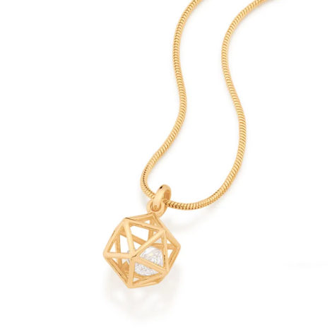 542269 pingente dourado formato geometrico icosaedro 2 zirconias brancas brilhantes colecao cores da vida rommanel loja brilho folheados 1