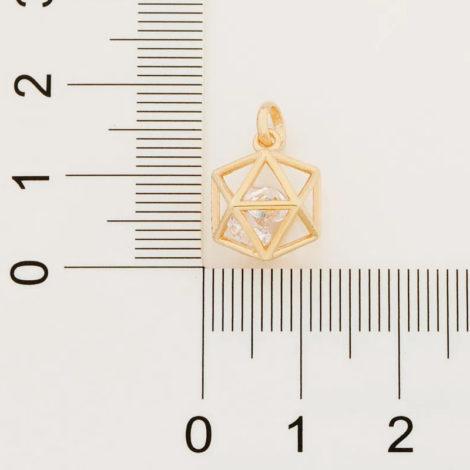 542269 pingente dourado formato geometrico icosaedro 2 zirconias brancas brilhantes colecao cores da vida rommanel loja brilho folheados 2