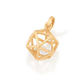 542269 pingente dourado formato geometrico icosaedro 2 zirconias brancas brilhantes colecao cores da vida rommanel loja brilho folheados