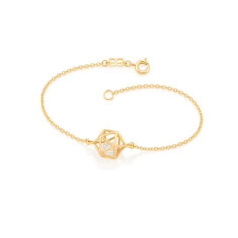 551676 pulseira elos delicados pingente geometrico vazado com 2 zirconias brilhantes colecao cores da vida rommanel loja brilho folheados