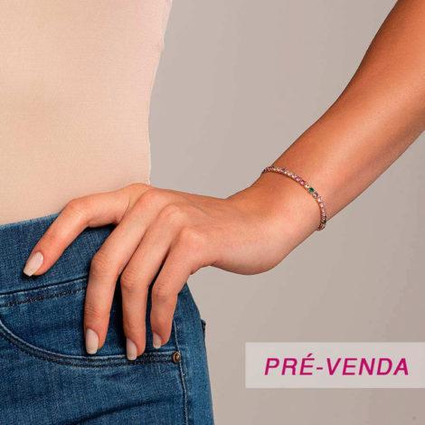 551680 pulseira riviera com zircônias quadradas coloridas 18 cm dourada marca rommanel loja revendedora brilho folheados foto modelo