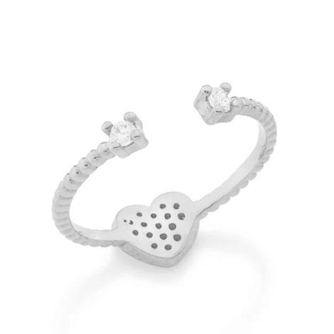 110777 anel ajustavel coracao cravejado com zirconias com duas zirconias nas pontas prateado colecao dia dos namorados marca rommanel loja revendedora brilho folheados 1