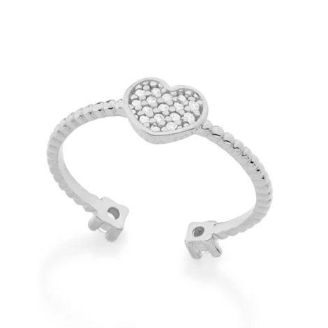 110777 anel ajustavel coracao cravejado com zirconias com duas zirconias nas pontas prateado colecao dia dos namorados marca rommanel loja revendedora brilho folheados