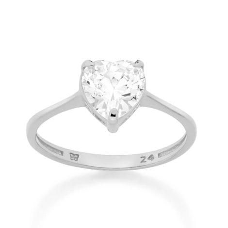 110787 anel solitario zirconia no formato de coracao prateado colecao dia dos namorados marca rommanel loja revendedora brilho folheados 1