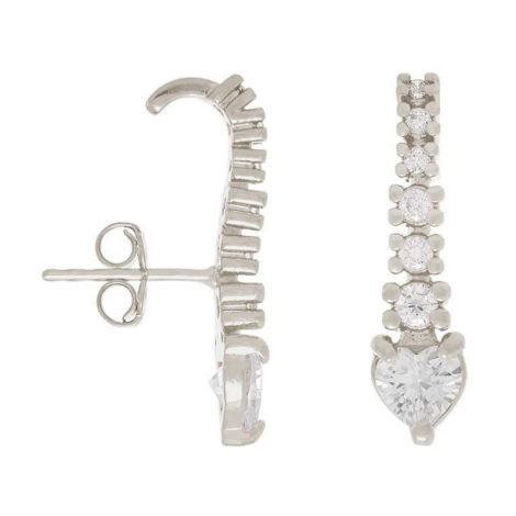 121700 brinco ear hook coração branco e filete com zircônias brancas prateado marca rommanel loja revendedora brilho folheados 3