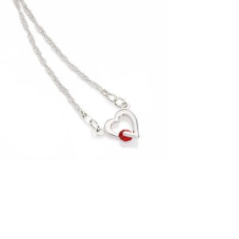 130298 gargantilha fio cingapura coracao com cristal vermelho colecao dia dos namorados marca rommanel loja revendedora brilho folheados