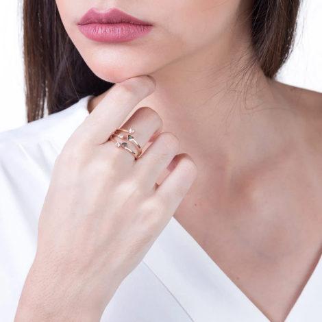 511273 anel ajustavel pontas com cristais e corações colecao dia dos namorados marca rommanel loja revendedora brilho folheados foto modelo 1