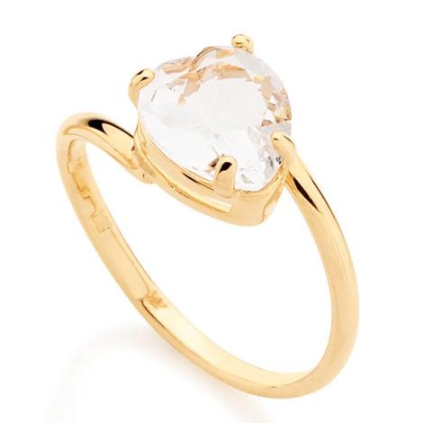 511598 anel aro liso cristal branco no formato de coração colecao dia dos namorados marca rommanel loja revendedora brilho folheados