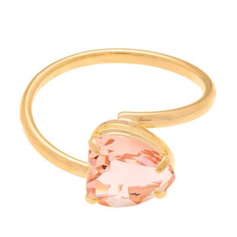 511598 anel aro liso cristal rosa no formato de coração colecao dia dos namorados marca rommanel loja revendedora brilho folheados 2