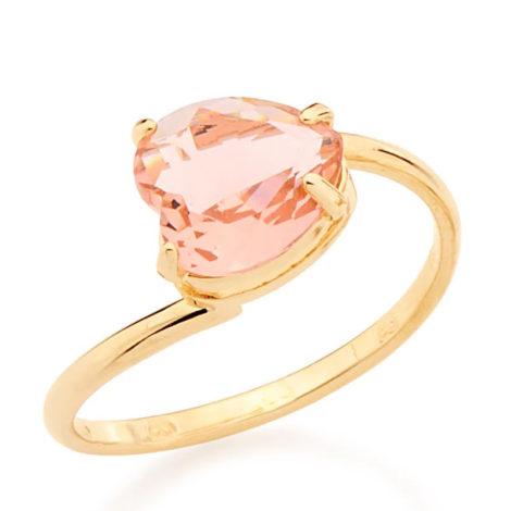 511598 anel aro liso cristal rosa no formato de coração colecao dia dos namorados marca rommanel loja revendedora brilho folheados