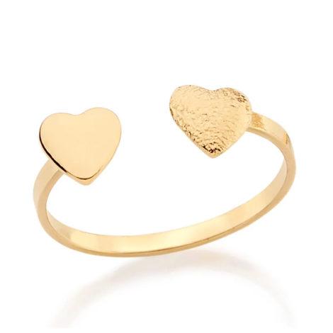 511691 anel ajustável 2 corações liso e trabalhado colecao dia dos namorados marca rommanel loja revendedora brilho folheados