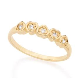 512165 anel cinco coracao com zirconias no meio colecao dia dos namorados marca rommanel loja revendedora brilho folheados