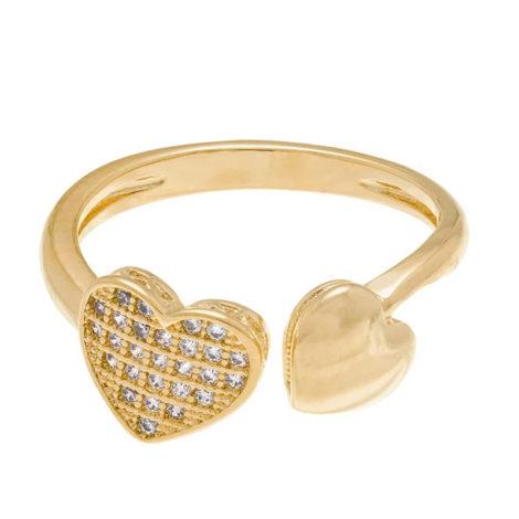 512174 anel coracoes nas pontas liso e com zircônias colecao dia dos namorados marca rommanel loja revendedora brilho folheados 2