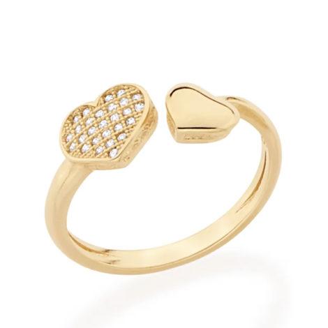 512174 anel coracoes nas pontas liso e com zircônias colecao dia dos namorados marca rommanel loja revendedora brilho folheados