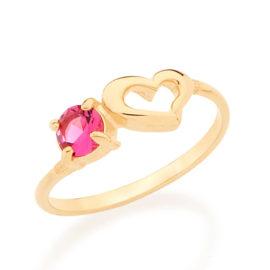 512547 anel delicado coracao vazado com cristal rosa do lado marca rommanel loja revendedora brilho folheados