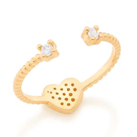 512550 anel ajustavel coracao cravejado com zirconias com duas zirconias nas pontas colecao dia dos namorados marca rommanel loja revendedora brilho folheados 2