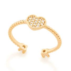 512550 anel ajustavel coracao cravejado com zirconias com duas zirconias nas pontas colecao dia dos namorados marca rommanel loja revendedora brilho folheados