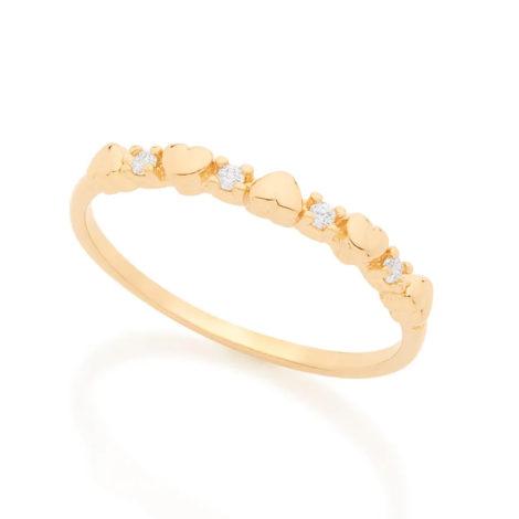 512617 anel corações intercalados com zircônias colecao dia dos namorados marca rommanel loja revendedora brilho folheados 1