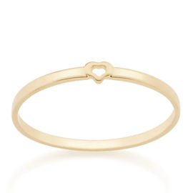 512732 anel delicado aro liso com mini coracao vazado no centro colecao dia dos namorados marca rommanel loja revendedora brilho folheados