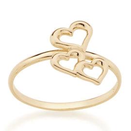 512736 anel skinny ring 3 coracoes vazados sobrepostos no centro colecao dia dos namorados marca rommanel loja revendedora brilho folheados