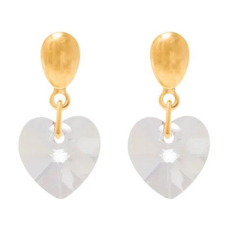 524233 brinco cristal no formato de coração pendurado com base oval colecao dia dos namorados marca rommanel loja revendedora brilho folheados