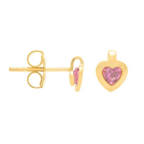 524296 brinco infantil coração com cristal rosa no centro marca rommanel loja revendedora brilho folheados 2