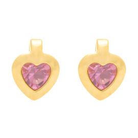 524296 brinco infantil coração com cristal rosa no centro marca rommanel loja revendedora brilho folheados