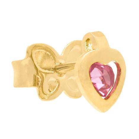 524296 brinco infantil coração com cristal rosa no centro marca rommanel loja revendedora brilho folheados 4