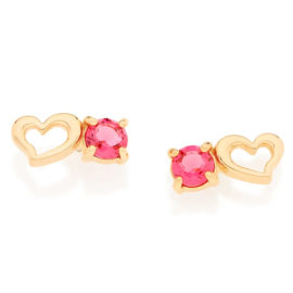 526000 brinco delicado coracao vazado com cristal rosa marca rommanel loja revendedora brilho folheados 1