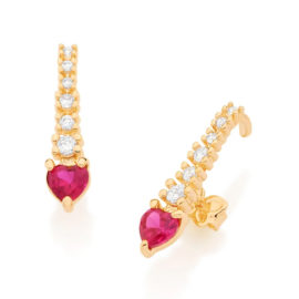 526144 brinco ear hook coração rosa e filete com zircônias brancas marca rommanel loja revendedora brilho folheados 1