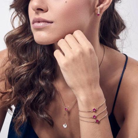 526144 brinco ear hook coração rosa e filete com zircônias brancas marca rommanel loja revendedora brilho folheados foto modelo 1