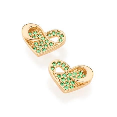 526150 brinco coracao delicado e trabalhado com zirconias verdes marca rommanel loja revendedora brilho folheados 1