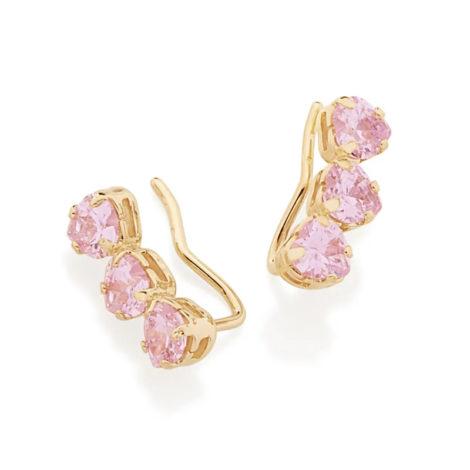 526304 brinco ear cuff 3 zirconias coracao rosa colecao dia dos namorados marca rommanel loja revendedora brilho folheados 1