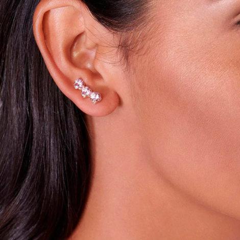 526304 brinco ear cuff 3 zirconias coracao rosa colecao dia dos namorados marca rommanel loja revendedora brilho folheados foto modelo 1
