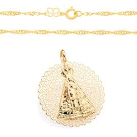 530417 541712 corrente cingapura com medalha grande nossa senhora aparecida marca rommanel loja brilho folheados 1