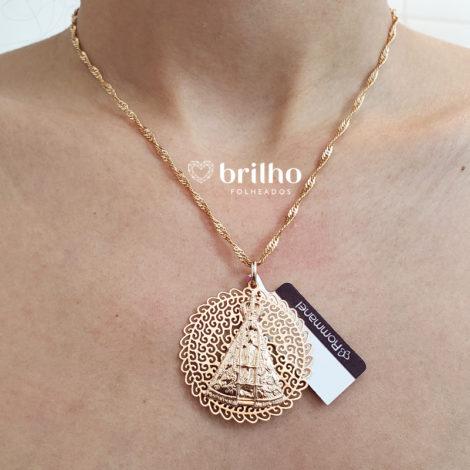 530417 541712 corrente cingapura com medalha grande nossa senhora aparecida marca rommanel loja brilho folheados 2