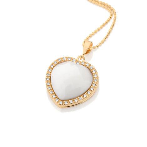 541570 pingente coracao branco rodeado de zirconias colecao dia dos namorados marca rommanel loja revendedora brilho folheados