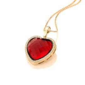 541667 pingente cristal formato coração vermelho rodeado de zircônias colecao dia dos namorados marca rommanel loja revendedora brilho folheados