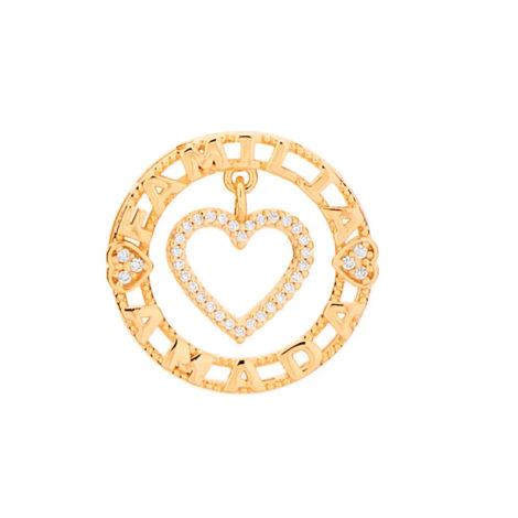 542061 pingente redondo coração vazado com escrita ao redor colecao dia dos namorados marca rommanel loja revendedora brilho folheados 1