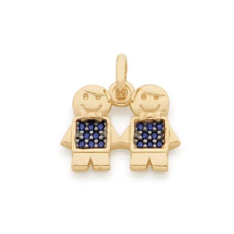 542154 pingente rommanel dois filhos com zirconias azul marca rommanel loja brilho folheados