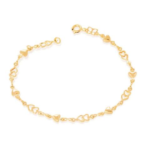 550573 pulseira delicada coracoes lisos e vazados colecao dia dos namorados marca rommanel loja revendedora brilho folheados