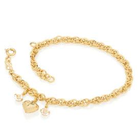 550906 pulseira com coracao e cristais pendurados colecao dia dos namorados marca rommanel loja revendedora brilho folheados 3