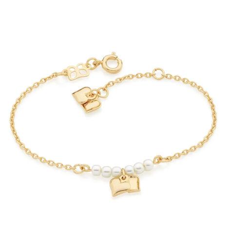 551437 pulseira seis perolas com dois coracoes pendurados colecao dia dos namorados marca rommanel loja revendedora brilho folheados 1