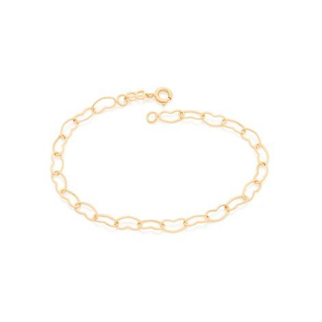 imagem de uma pulseira formada por elos no formato coração vazado. Joia banhada a ouro dourado da marca Rommanel. Código da pulseira 550683.