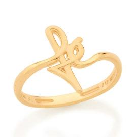 Imagem de fundo branco contendo um anel no centro da marca Rommanel, código 512899. Anel na cor dourada folheado a ouro. Anel aro liso com escrita fé na parte central.